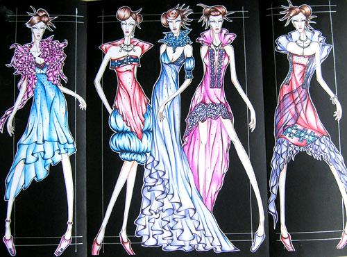"""服装学子技能比拼时装画 礼服设计 """"流光溢彩"""""""